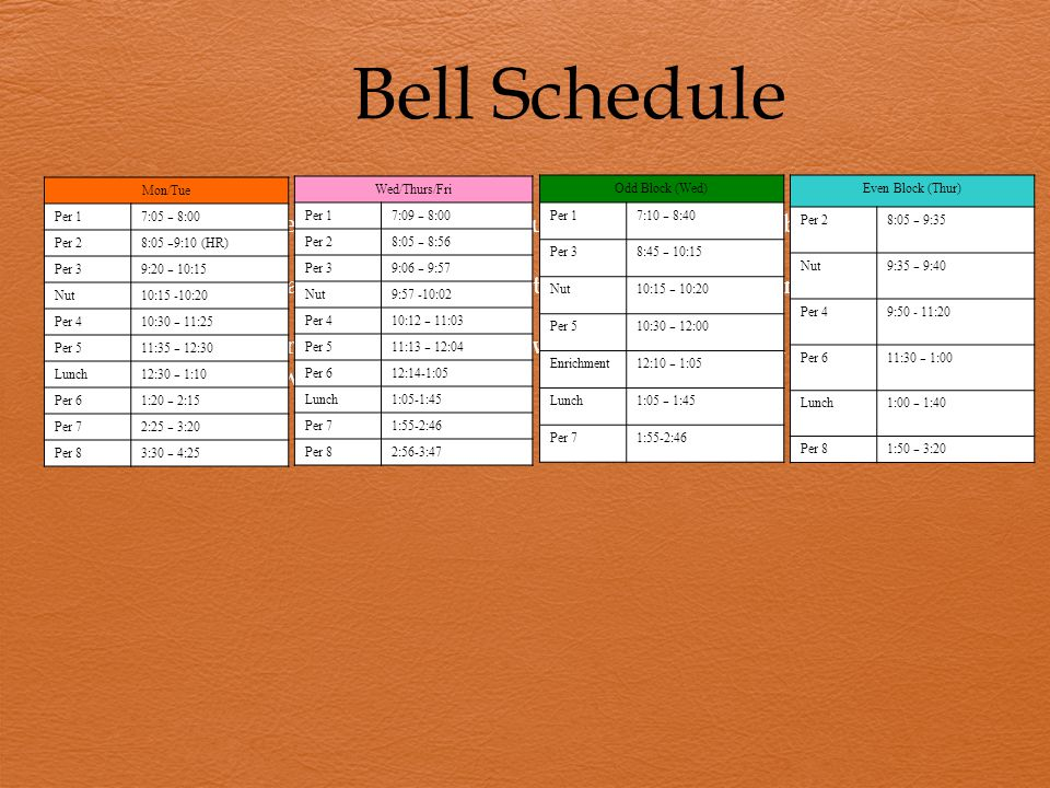 Bell Schedule  All classes meet daily Monday through Friday except on block days.  Students typically begin their day at approximately 8:00am.  (Ti