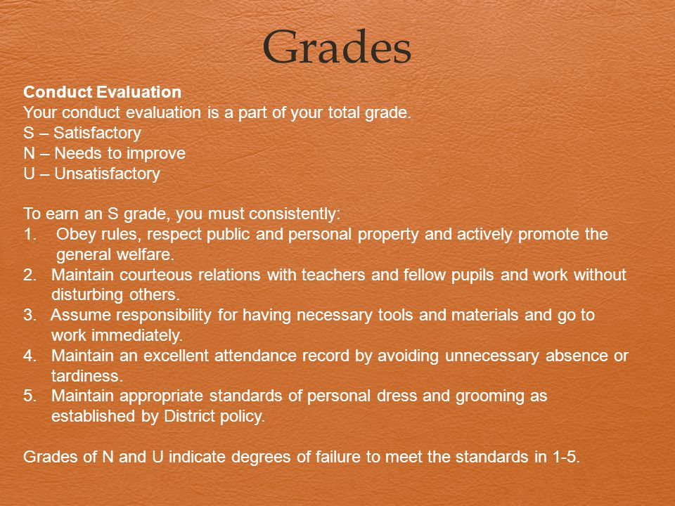 Grades Conduct Evaluation Your conduct evaluation is a part of your total grade.