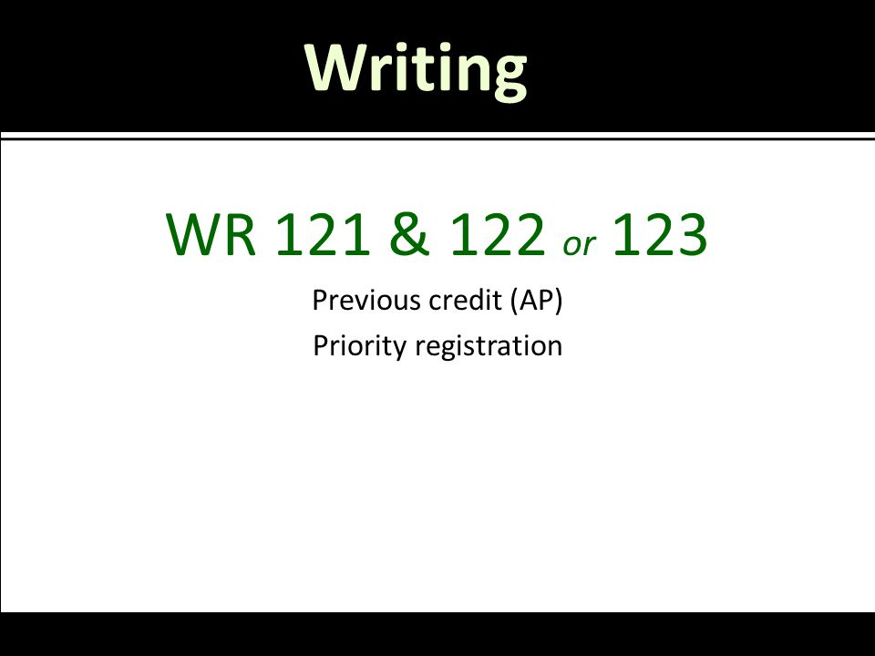 Writing WR 121 & 122 or 123 Previous credit (AP) Priority registration