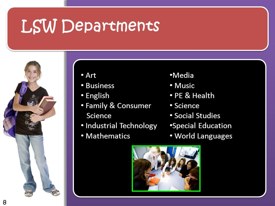 LSW Departments Art Business English Family & Consumer Science Industrial Technology Mathematics Media Music PE & Health Science Social Studies Special Education World Languages 8