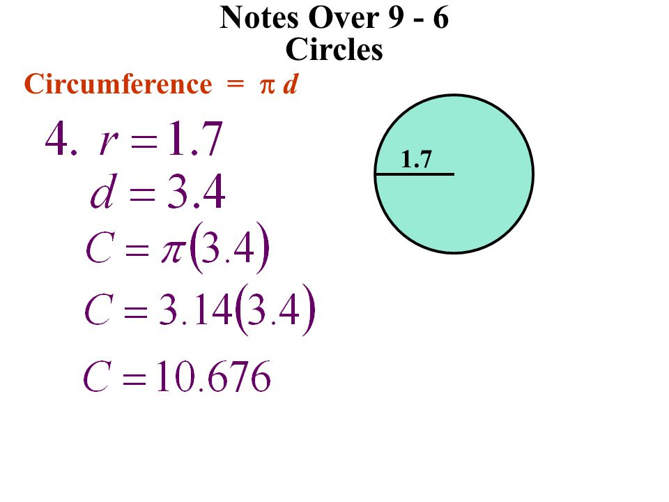 Notes Over 9 - 6 Circles Circumference =  d