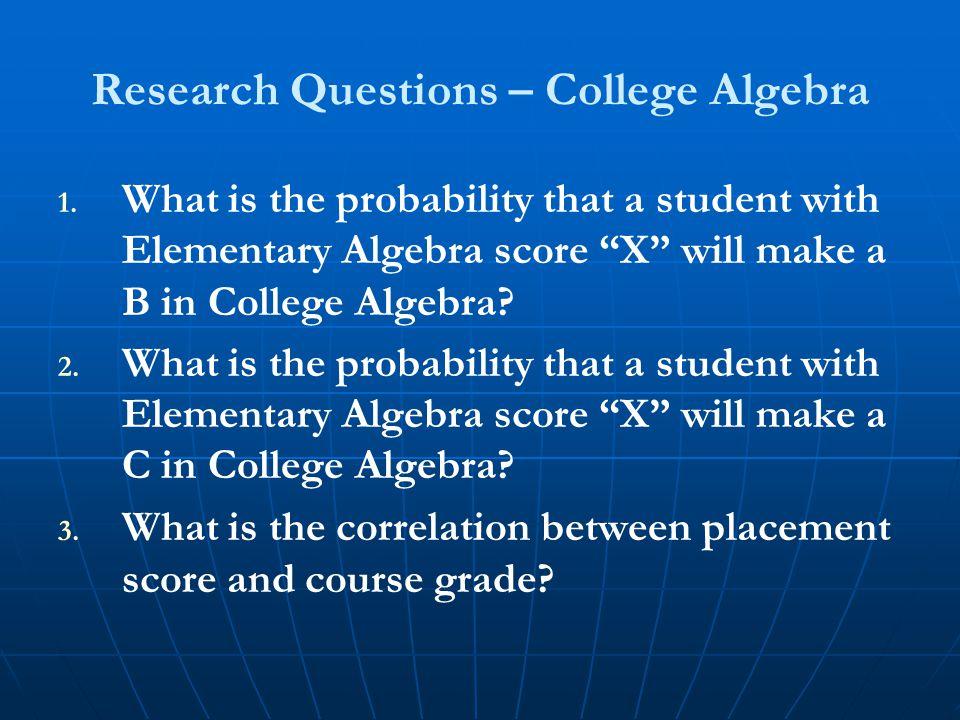 Research Questions – College Algebra 1. 1.