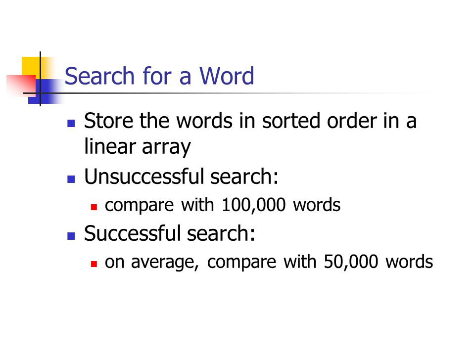 Search for a Word Store the words in sorted order in a linear array Unsuccessful search: compare with 100,000 words Successful search: on average, compare with 50,000 words