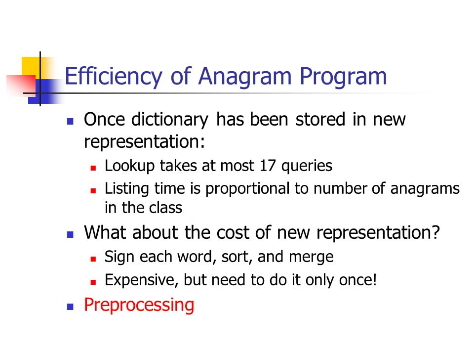 Efficiency of Anagram Program Once dictionary has been stored in new representation: Lookup takes at most 17 queries Listing time is proportional to number of anagrams in the class What about the cost of new representation.