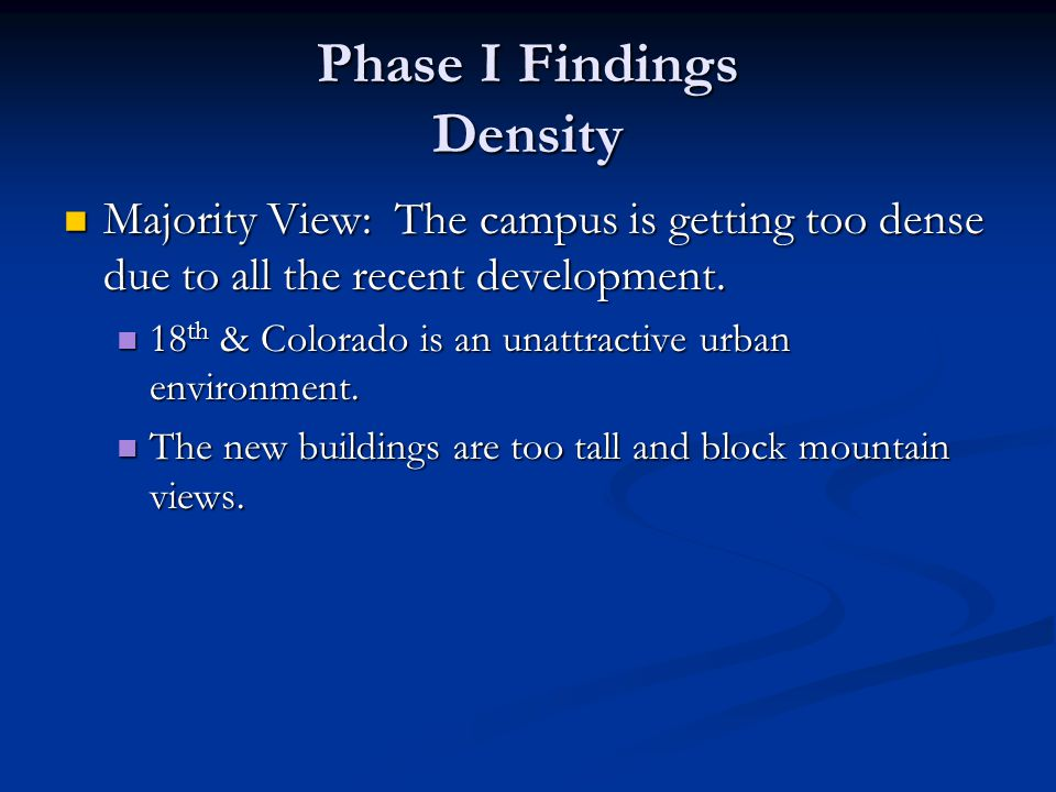 Phase I Findings Density Majority View: The campus is getting too dense due to all the recent development.
