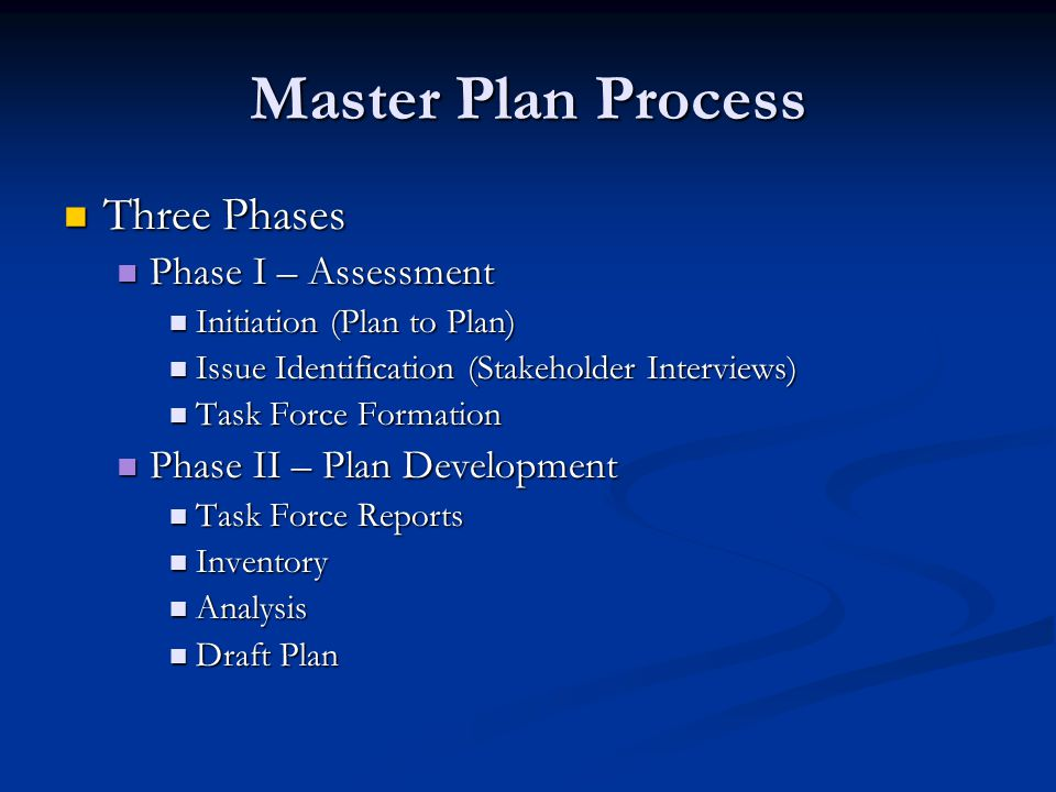 Master Plan Process Three Phases Three Phases Phase I – Assessment Phase I – Assessment Initiation (Plan to Plan) Initiation (Plan to Plan) Issue Identification (Stakeholder Interviews) Issue Identification (Stakeholder Interviews) Task Force Formation Task Force Formation Phase II – Plan Development Phase II – Plan Development Task Force Reports Task Force Reports Inventory Inventory Analysis Analysis Draft Plan Draft Plan