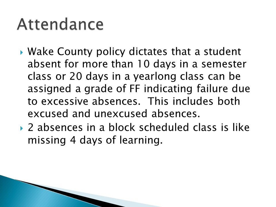  Wake County policy dictates that a student absent for more than 10 days in a semester class or 20 days in a yearlong class can be assigned a grade of FF indicating failure due to excessive absences.