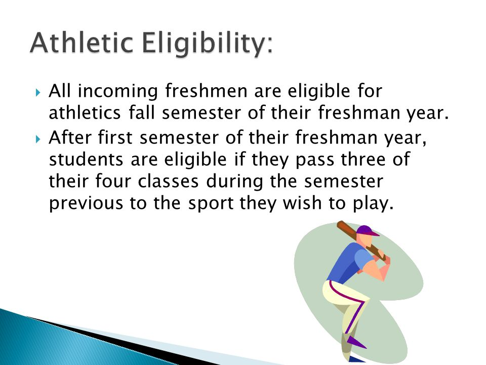  All incoming freshmen are eligible for athletics fall semester of their freshman year.
