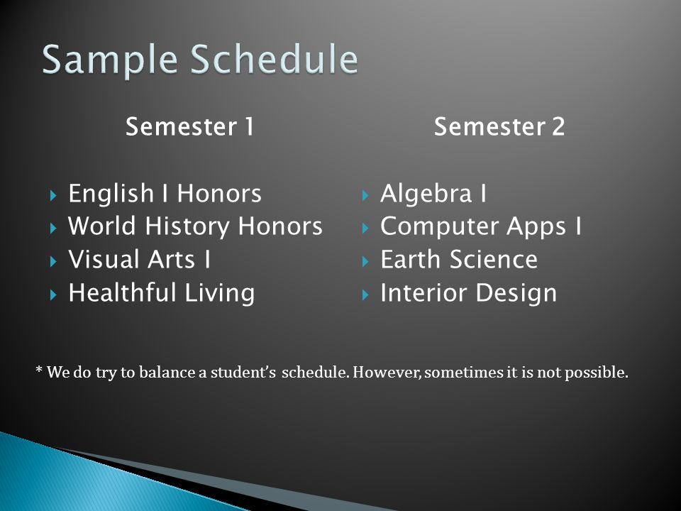 Semester 1  English I Honors  World History Honors  Visual Arts I  Healthful Living Semester 2  Algebra I  Computer Apps I  Earth Science  Interior Design * We do try to balance a student's schedule.