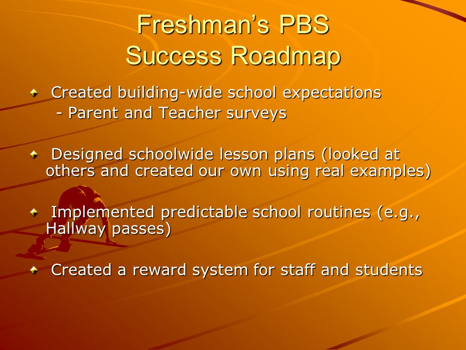 Freshman's PBS Success Roadmap Created building-wide school expectations Created building-wide school expectations - Parent and Teacher surveys - Parent and Teacher surveys Designed schoolwide lesson plans (looked at others and created our own using real examples) Designed schoolwide lesson plans (looked at others and created our own using real examples) Implemented predictable school routines (e.g., Hallway passes) Implemented predictable school routines (e.g., Hallway passes) Created a reward system for staff and students Created a reward system for staff and students