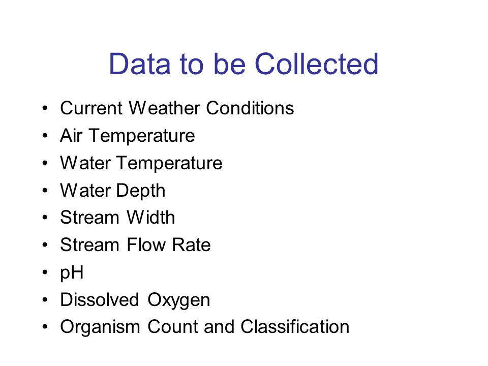 Data Collection Data will be collected over the course of one week each month of the school year.