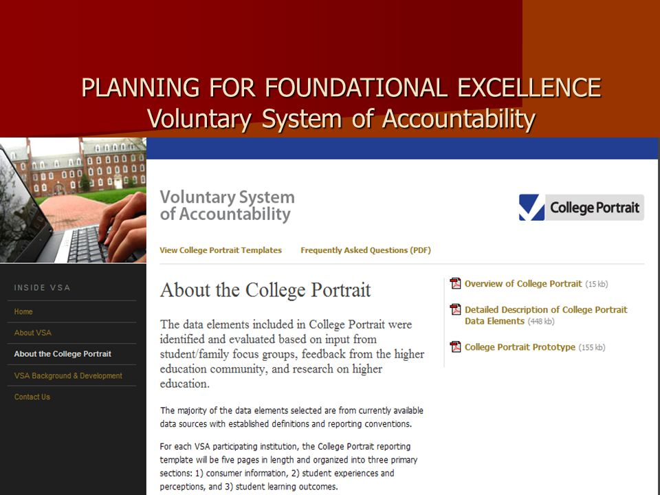 PLANNING FOR FOUNDATIONAL EXCELLENCE Voluntary System of Accountability