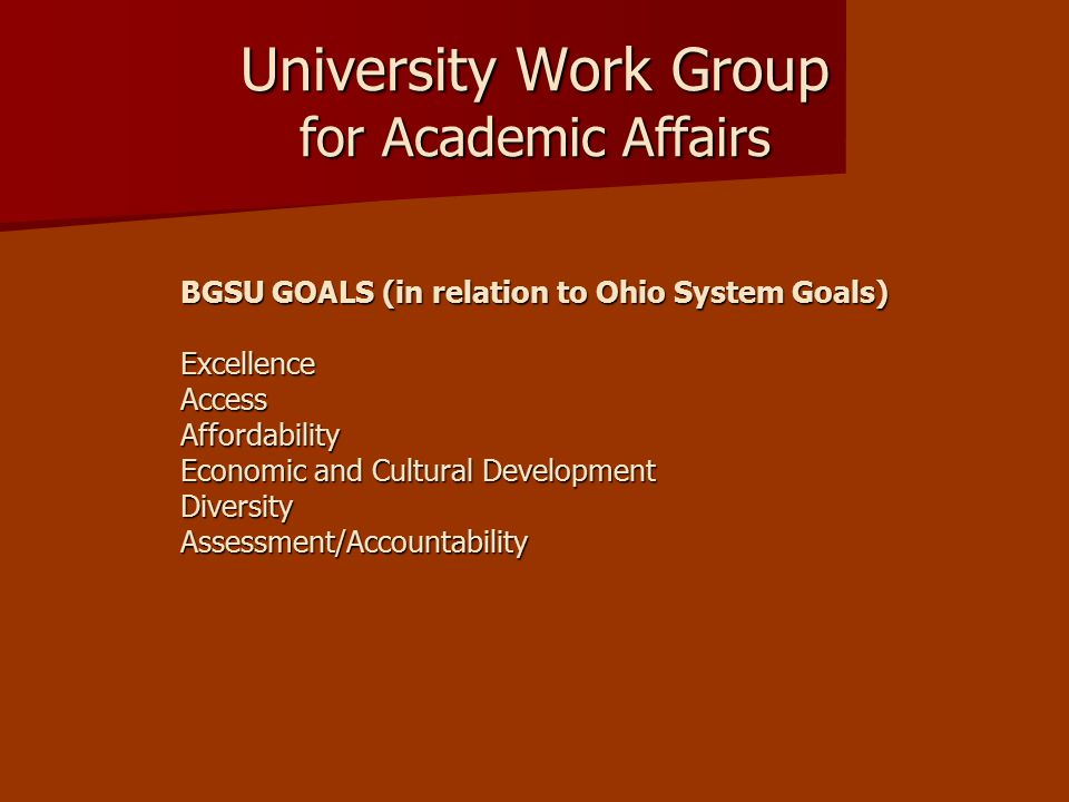 University Work Group for Academic Affairs BGSU GOALS (in relation to Ohio System Goals) ExcellenceAccessAffordability Economic and Cultural Development DiversityAssessment/Accountability
