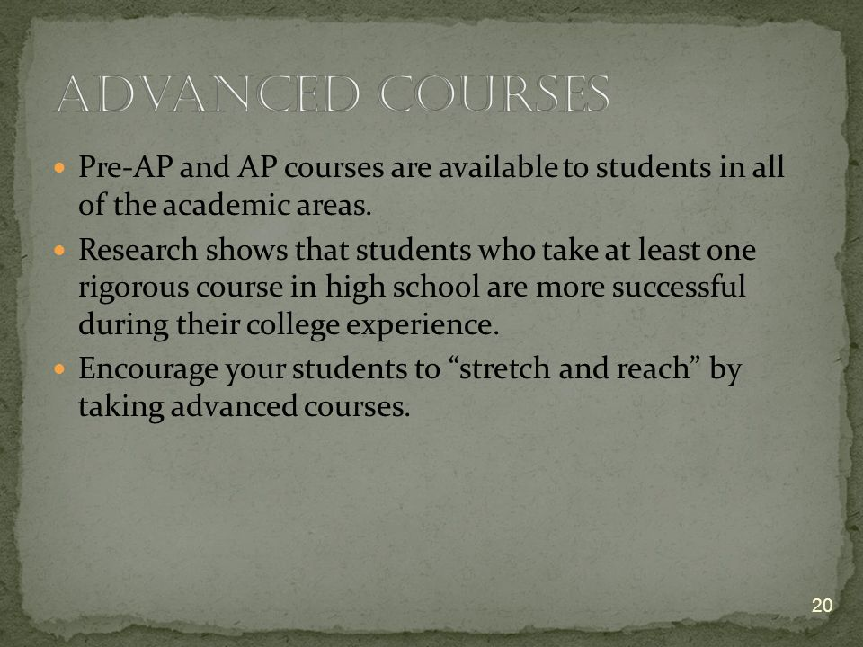Pre-AP and AP courses are available to students in all of the academic areas.