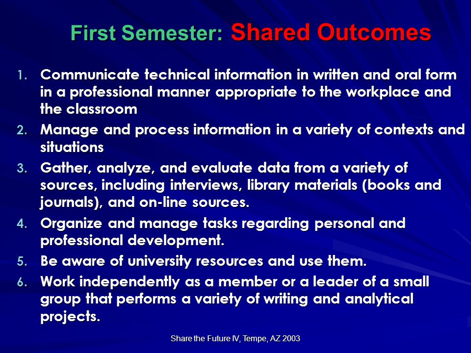 Share the Future IV, Tempe, AZ 2003 First Semester: Shared Outcomes 1.