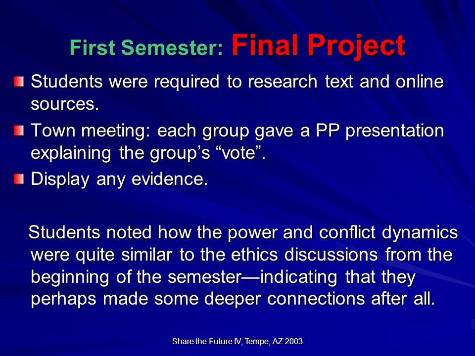 Share the Future IV, Tempe, AZ 2003 First Semester: Final Project Students were required to research text and online sources.