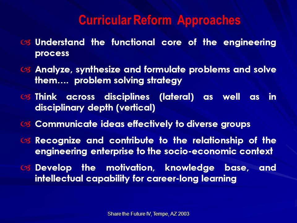 Share the Future IV, Tempe, AZ 2003 Curriculum Restructuring – Establishing Linkages Creation of unique course combinations where faculty from engineering, math, science, humanities, and social science worked together to define student learning outcomes for project-based curricula.