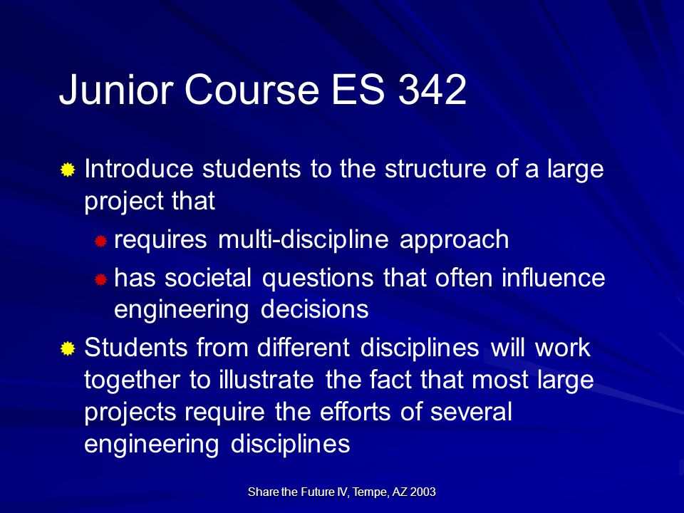 Share the Future IV, Tempe, AZ 2003  Introduce students to the structure of a large project that  requires multi-discipline approach  has societal questions that often influence engineering decisions  Students from different disciplines will work together to illustrate the fact that most large projects require the efforts of several engineering disciplines Junior Course ES 342