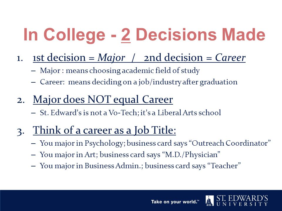 In College - 2 Decisions Made 1.1st decision = Major / 2nd decision = Career – Major : means choosing academic field of study – Career: means deciding