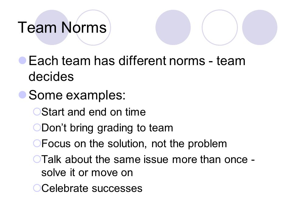 Team Norms Each team has different norms - team decides Some examples:  Start and end on time  Don't bring grading to team  Focus on the solution,