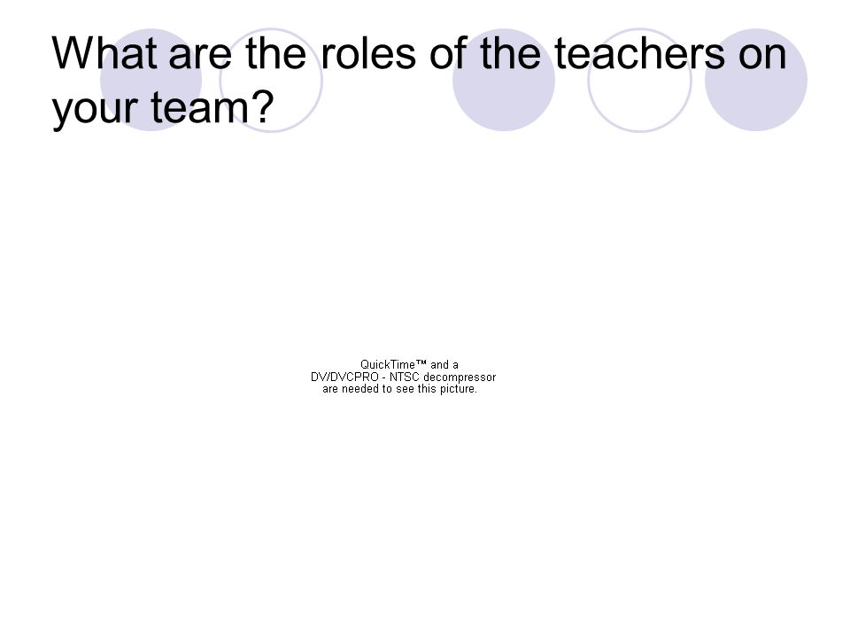 What are the roles of the teachers on your team?