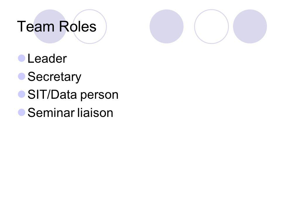 Team Roles Leader Secretary SIT/Data person Seminar liaison