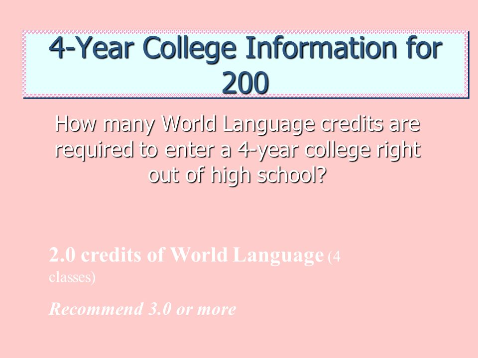 4-Year College Information for 200 How many World Language credits are required to enter a 4-year college right out of high school? 2.0 credits of Wor