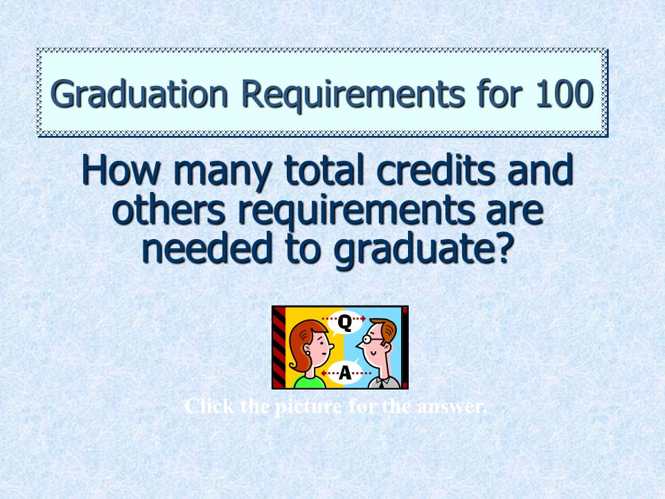 How many total credits and others requirements are needed to graduate? Graduation Requirements for 100 Click the picture for the answer.