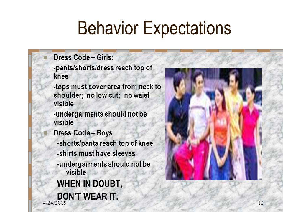 4/24/201512 Behavior Expectations Dress Code – Girls: -pants/shorts/dress reach top of knee -tops must cover area from neck to shoulder; no low cut; no waist visible -undergarments should not be visible Dress Code – Boys -shorts/pants reach top of knee -shirts must have sleeves -undergarments should not be visible WHEN IN DOUBT, DON'T WEAR IT.