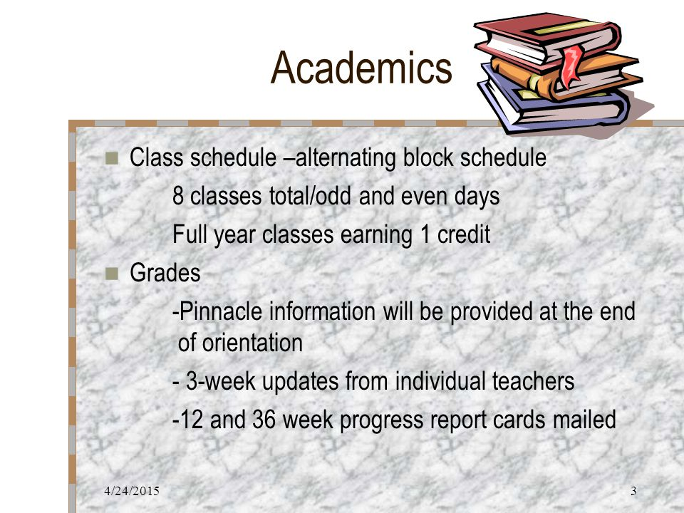 4/24/20153 Academics Class schedule –alternating block schedule 8 classes total/odd and even days Full year classes earning 1 credit Grades -Pinnacle information will be provided at the end of orientation - 3-week updates from individual teachers -12 and 36 week progress report cards mailed