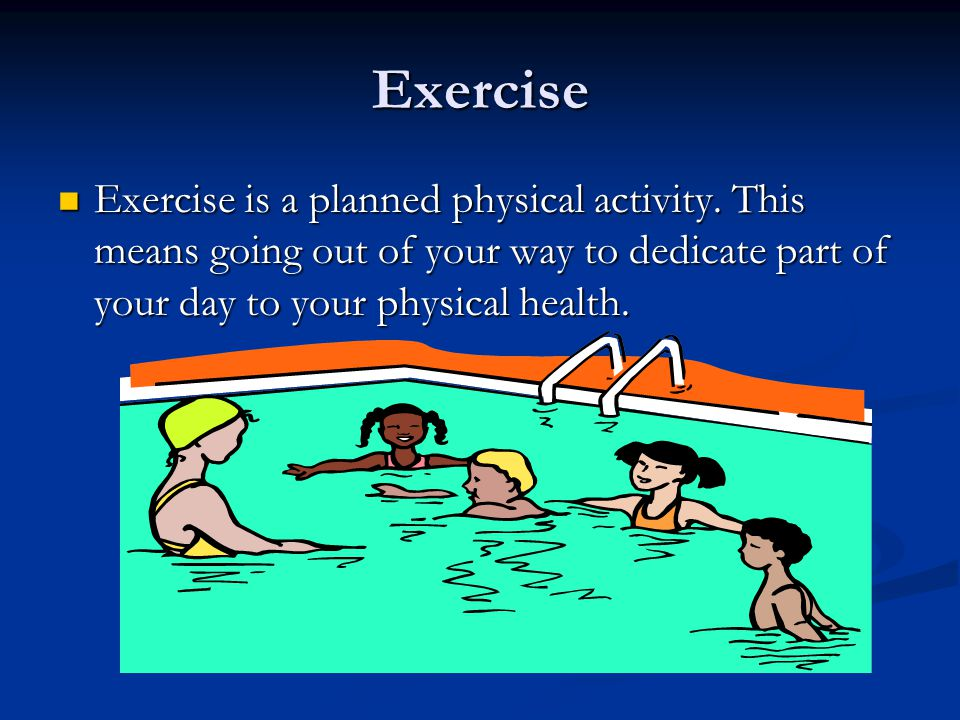 Examples of Exercise Going to the Gym Going to the Gym PE Class PE Class Walking to school instead of driving/riding Walking to school instead of driving/riding Playing sports Playing sports Going for a bike ride Going for a bike ride Going for a walk Going for a walk Running a mile Running a mile Lifting weights Lifting weights