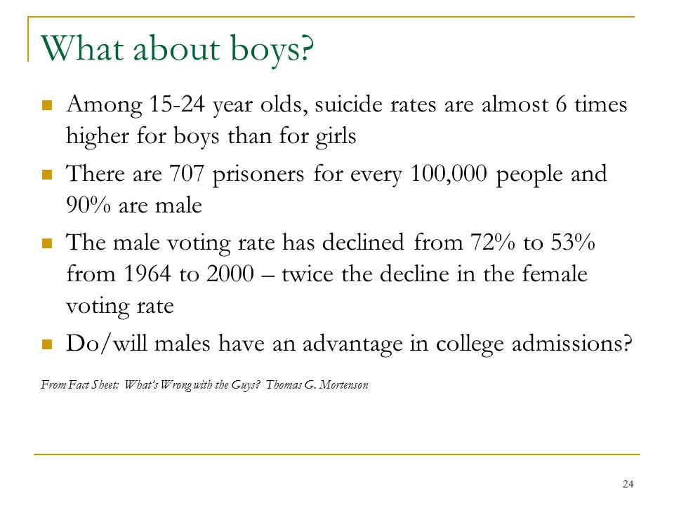 24 What about boys? Among 15-24 year olds, suicide rates are almost 6 times higher for boys than for girls There are 707 prisoners for every 100,000 p