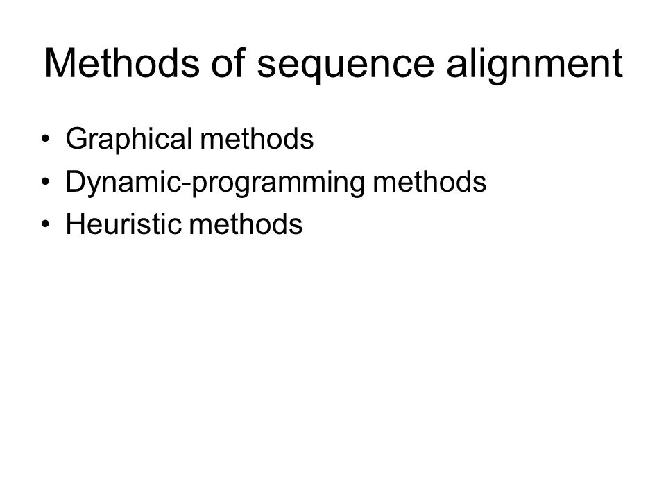 Methods of sequence alignment Graphical methods Dynamic-programming methods Heuristic methods