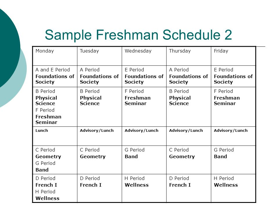 Sample Freshman Schedule 2 MondayTuesdayWednesdayThursdayFriday A and E Period Foundations of Society A Period Foundations of Society E Period Foundations of Society A Period Foundations of Society E Period Foundations of Society B Period Physical Science F Period Freshman Seminar B Period Physical Science F Period Freshman Seminar B Period Physical Science F Period Freshman Seminar LunchAdvisory/Lunch C Period Geometry G Period Band C Period Geometry G Period Band C Period Geometry G Period Band D Period French I H Period Wellness D Period French I H Period Wellness D Period French I H Period Wellness
