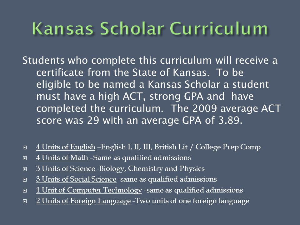 Students who complete this curriculum will receive a certificate from the State of Kansas.