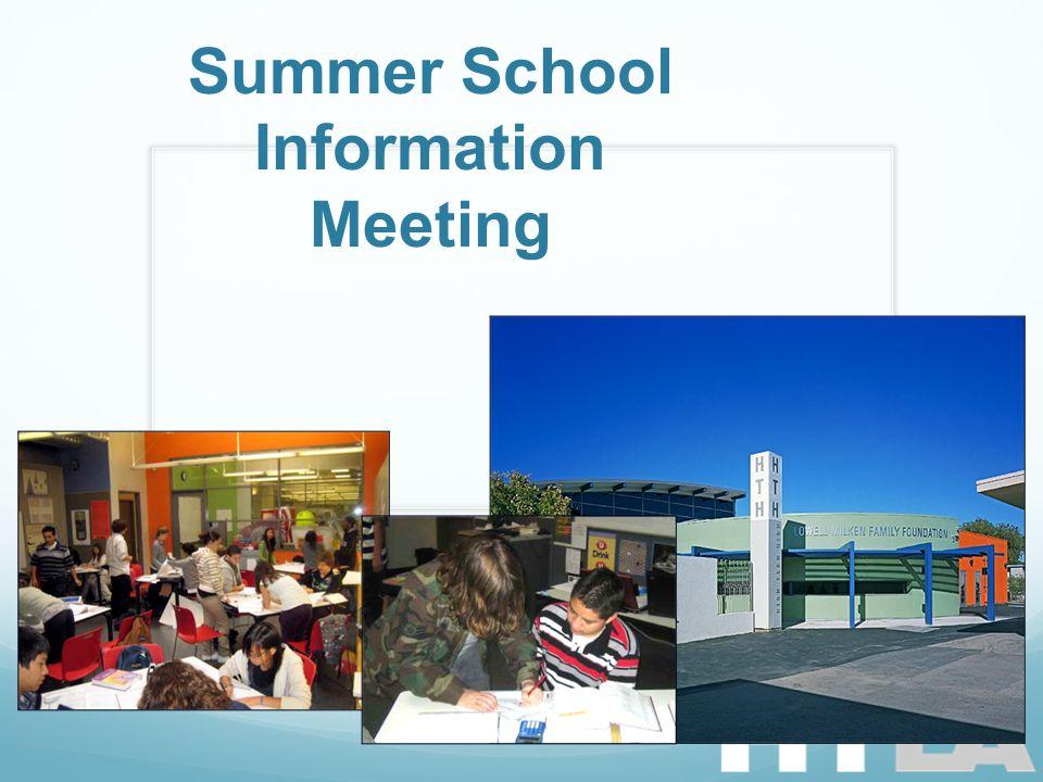 Summer School Information Meeting