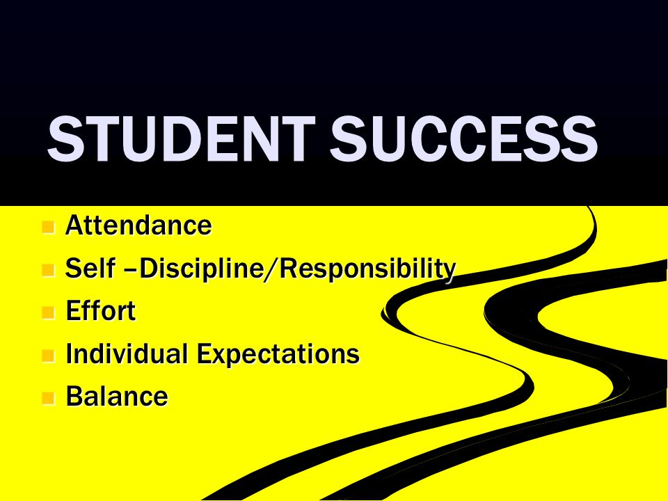 STUDENT SUCCESS Attendance Attendance Self –Discipline/Responsibility Self –Discipline/Responsibility Effort Effort Individual Expectations Individual