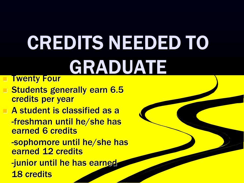 CREDITS NEEDED TO GRADUATE Twenty Four Twenty Four Students generally earn 6.5 credits per year Students generally earn 6.5 credits per year A student