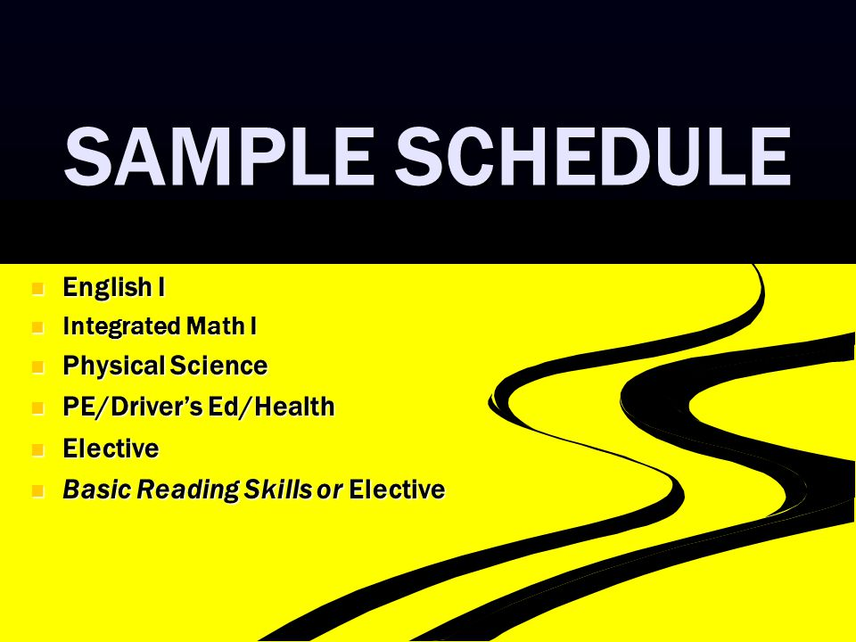 SAMPLE SCHEDULE English I English I Integrated Math I Integrated Math I Physical Science Physical Science PE/Driver's Ed/Health PE/Driver's Ed/Health