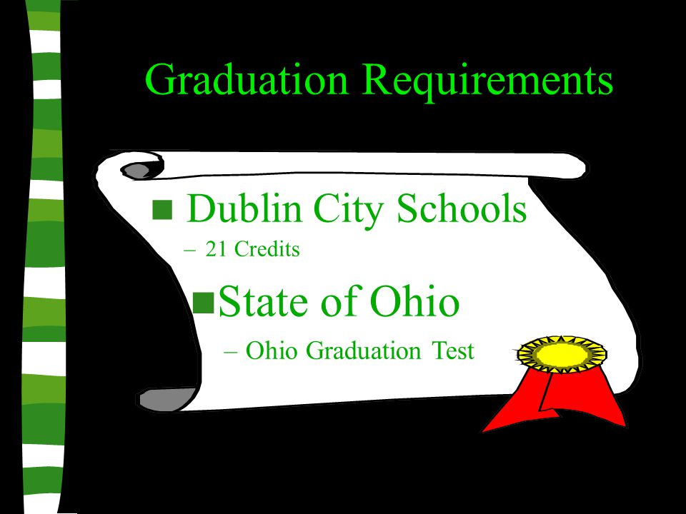 Graduation Requirements Dublin City Schools –21 Credits State of Ohio –Ohio Graduation Test
