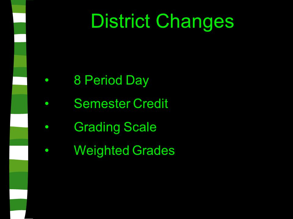 District Changes 8 Period Day Semester Credit Grading Scale Weighted Grades