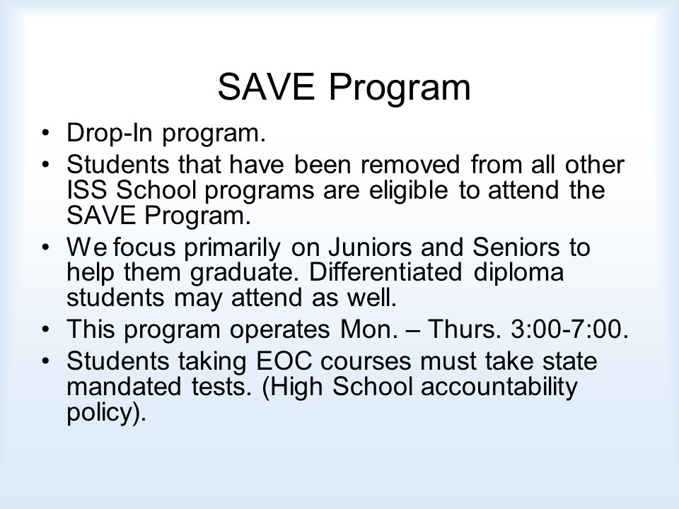SAVE Program Drop-In program.