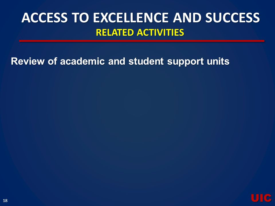 UIC 18 Review of academic and student support units ACCESS TO EXCELLENCE AND SUCCESS RELATED ACTIVITIES