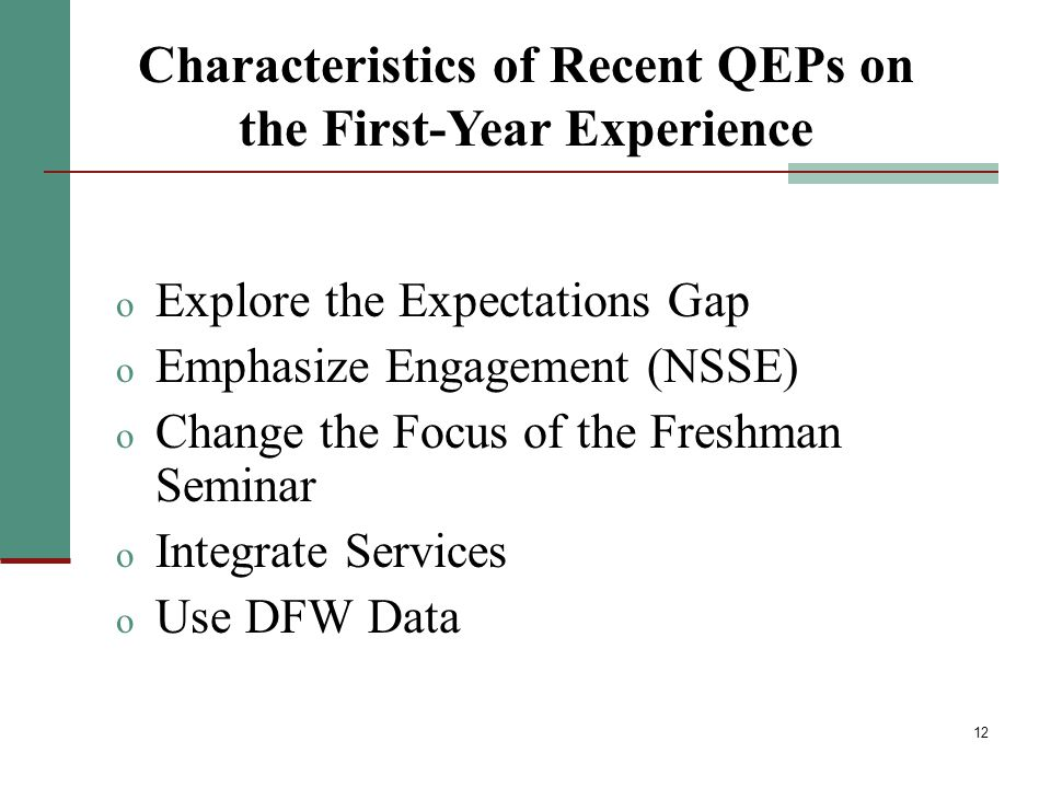 12 o Explore the Expectations Gap o Emphasize Engagement (NSSE) o Change the Focus of the Freshman Seminar o Integrate Services o Use DFW Data Characteristics of Recent QEPs on the First-Year Experience