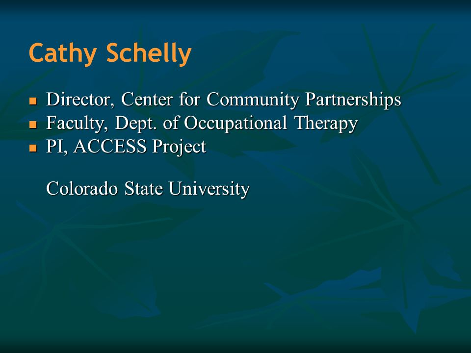 Cathy Schelly Director, Center for Community Partnerships Director, Center for Community Partnerships Faculty, Dept. of Occupational Therapy Faculty,