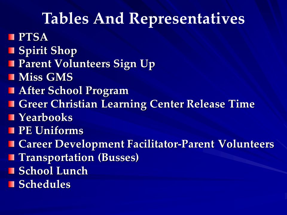 Tables And Representatives PTSA Spirit Shop Parent Volunteers Sign Up Miss GMS After School Program Greer Christian Learning Center Release Time Yearbooks PE Uniforms Career Development Facilitator-Parent Volunteers Transportation (Busses) School Lunch Schedules