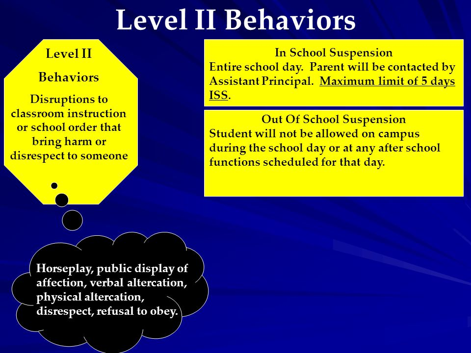 Level II Behaviors Level II Behaviors Disruptions to classroom instruction or school order that bring harm or disrespect to someone Horseplay, public display of affection, verbal altercation, physical altercation, disrespect, refusal to obey.