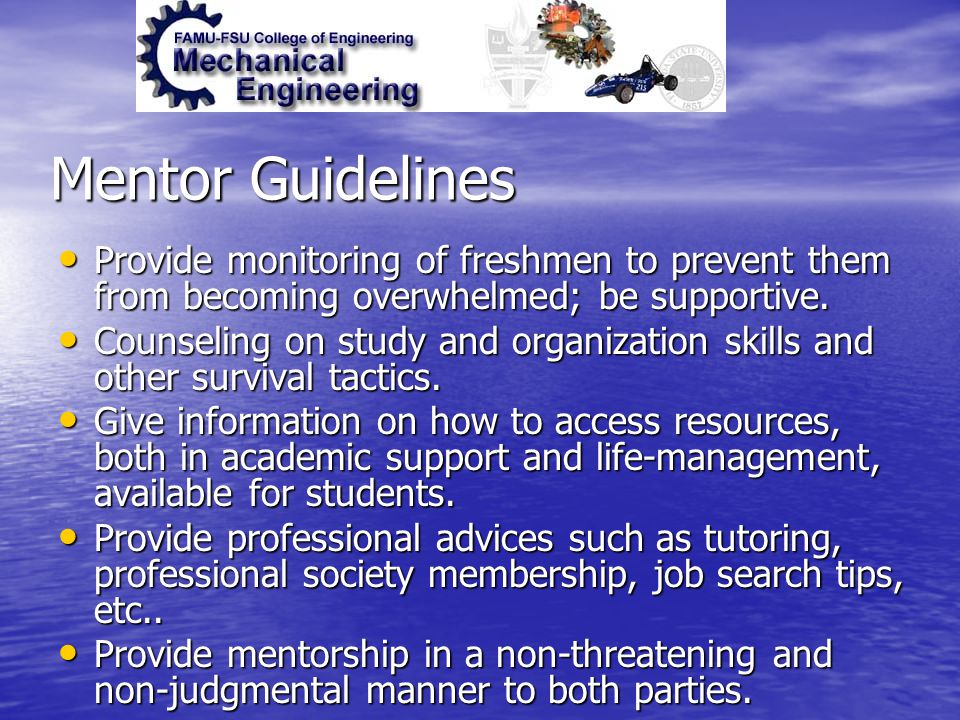 Mentor Guidelines Provide monitoring of freshmen to prevent them from becoming overwhelmed; be supportive. Provide monitoring of freshmen to prevent t
