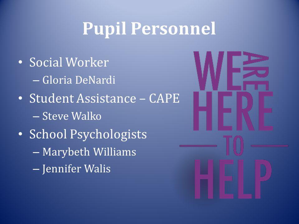 Pupil Personnel Social Worker – Gloria DeNardi Student Assistance – CAPE – Steve Walko School Psychologists – Marybeth Williams – Jennifer Walis