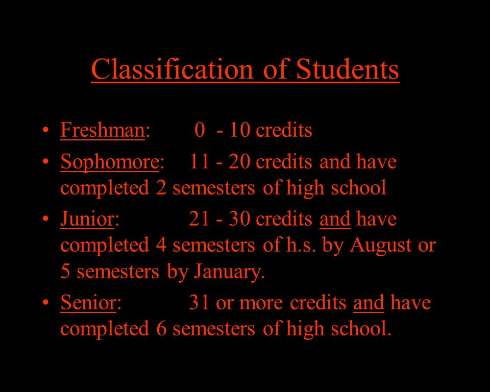 Classification of Students Freshman: 0 - 10 credits Sophomore:11 - 20 credits and have completed 2 semesters of high school Junior:21 - 30 credits and have completed 4 semesters of h.s.